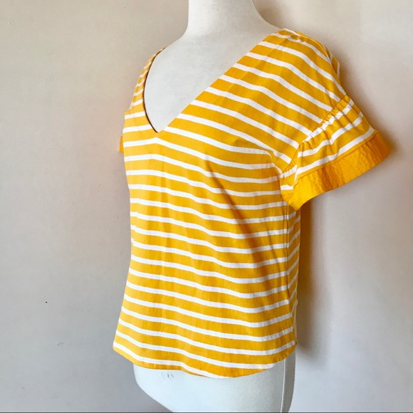 A new day women burnt orange and gold stripe top 3//4 sleeve large NWT